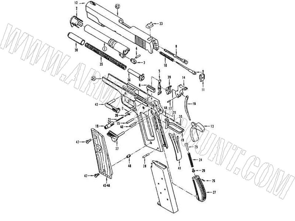 COLT 1911A1 calibre 45ACP Pièces détachées - éclaté