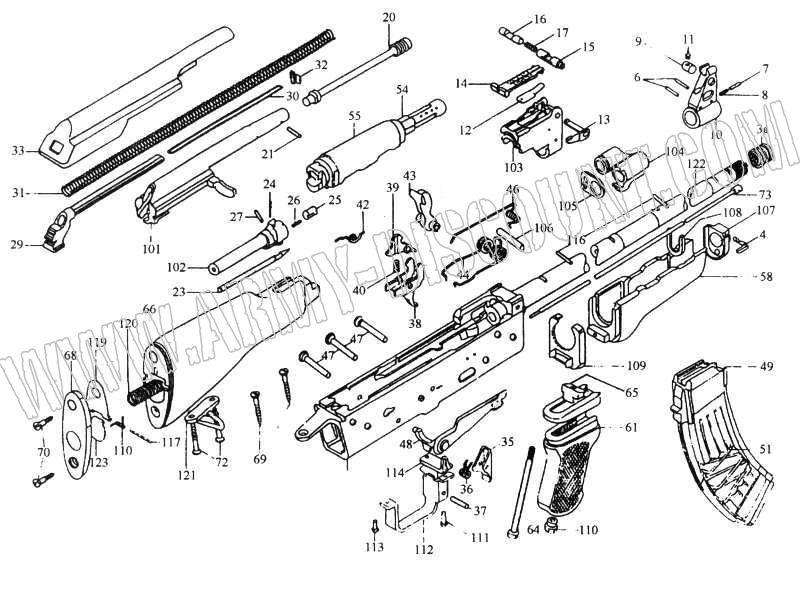 KALASHNIKOV AK47/AK74 calibre 7.62x39/5.45X39 Pièces détachées - éclaté