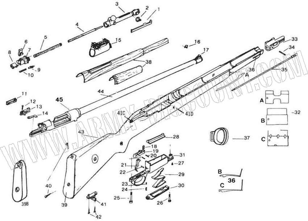 MAUSER 98K calibre 8x57IS Pièces détachées - éclaté